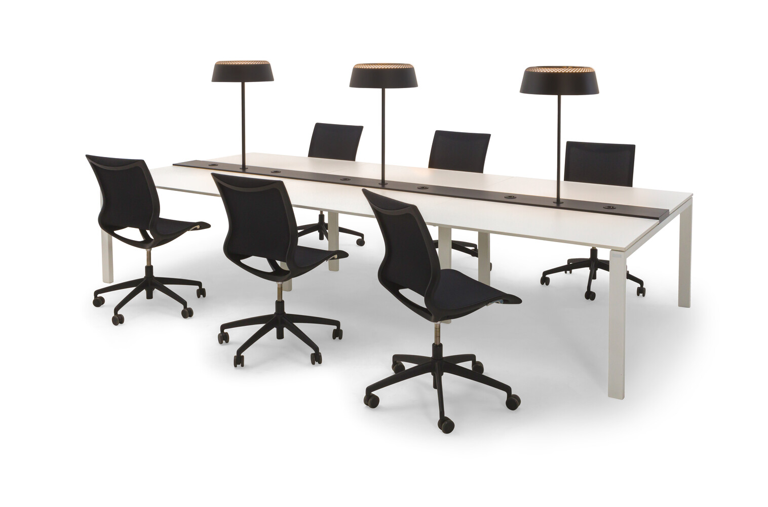 Gispen IC bench in white with black Turn chairs and Ring T1 tablelamp front right view