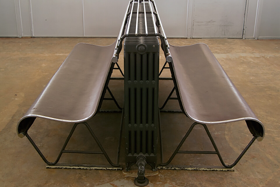 Gispen special double bench for over radiator at Van Nelle Factory in Rotterdam left side view