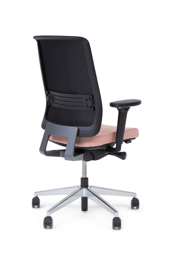 Royal Ahrend Ease office chair with seat upholstered in pink and back in black left rear view