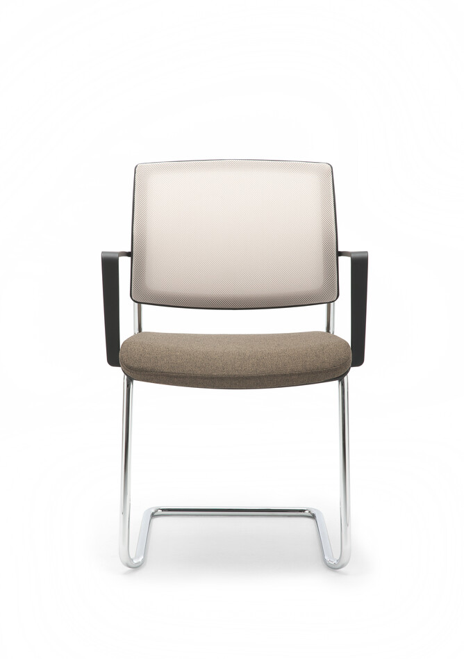 Gispen Zinn 48A cantilever visitor chair with armrests and stackable frame and brown seat and Off white 61128 back front view