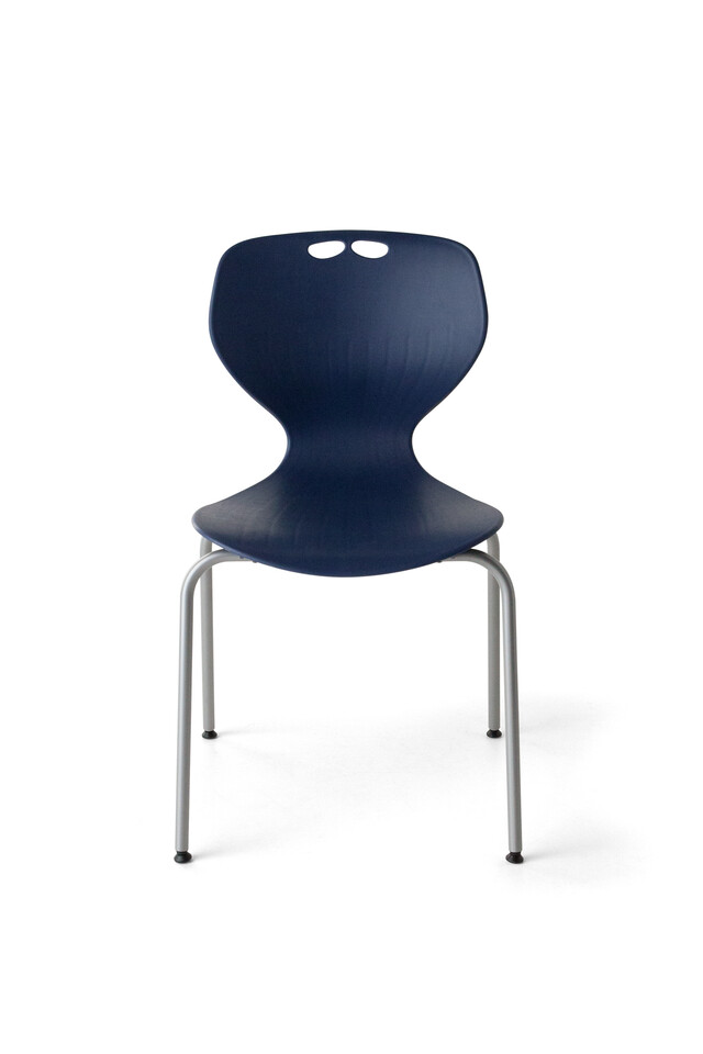 Royal Ahrend 450 4K educational chair with blue shell and grey base front view