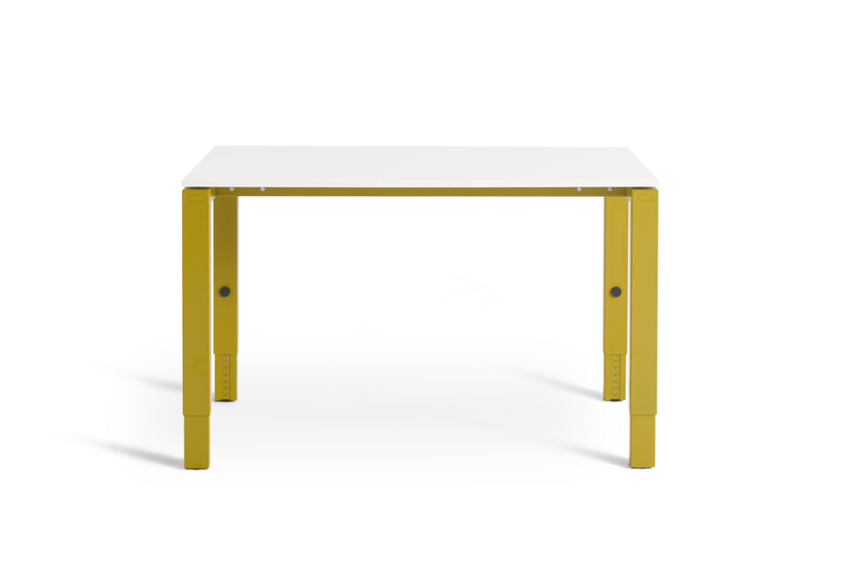 Gispen IC workstation in yellow with white tabletop front view