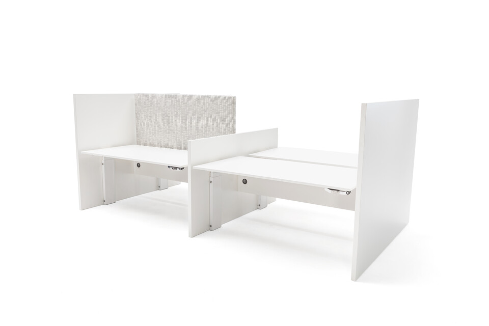 Gispen Cimo dual tables 4 pack with white frame with wooden panel walls with white chipboard tabletops and grey upholstered screen straight thick left front right view