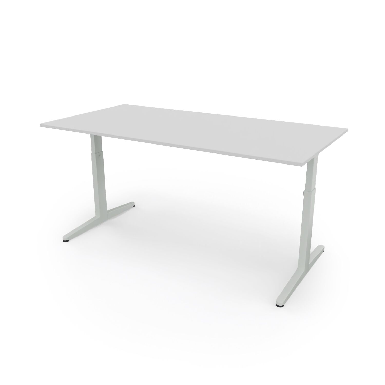 Ahrend Balance HI desk 160 frame in light grey and tabletop in light grey front left view