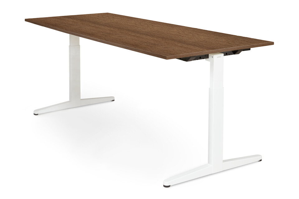 Royal Ahrend Balance workstation in white with dark beech worktop front right view