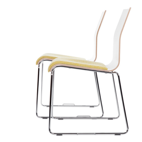 Royal Ahrend 370 wireframe chairs with chrome legs and shell in white with seat upholstered in yellow offset right side view