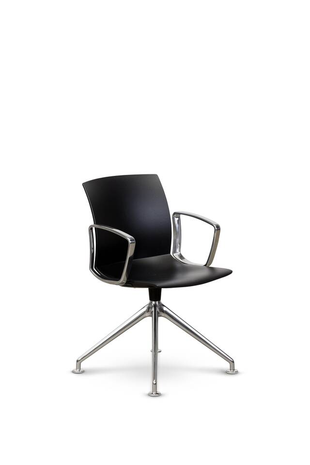 Royal Ahrend well trestle base chair with circular black shell with polished frame and armrests front right view
