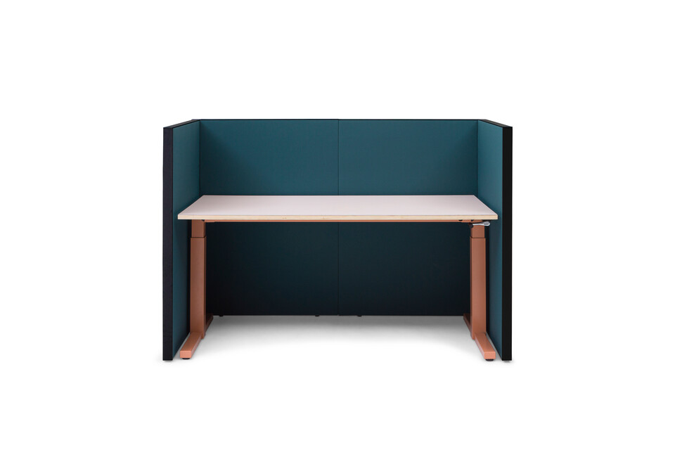 Gispen SEPP Acoustic screen with black frame and upholstered in turquoise with TMNL workstation in brown front view