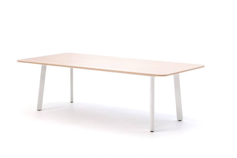 Gispen TEAM Classic conference table with white frame and oak tabletop front right view