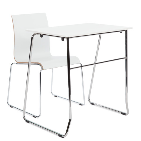 Royal Ahrend 456 seminar table with chrome frame and white top with 370 wireframe chair rear right view