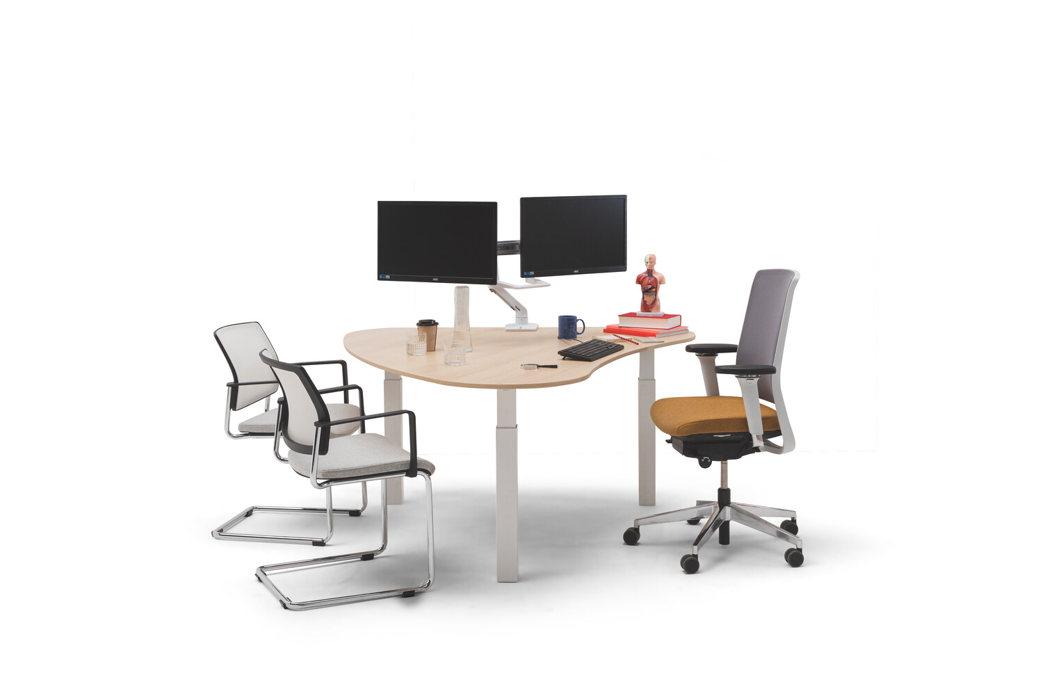 Gispen TMNL doc workstation sit sit in white with oak top and Zinn office and conference chairs front view