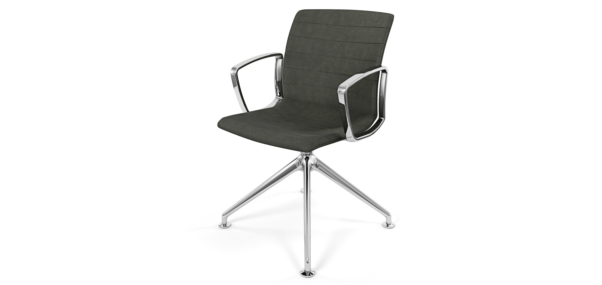 Royal Ahrend Well trestle base chair with polished chrome frame and armrests with fully grey upholstered shell front right view