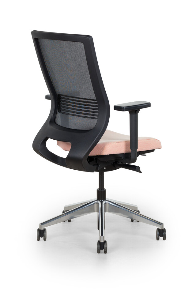 Royal Ahrend Prime office chair upholstered seat in pink and black back left rear view