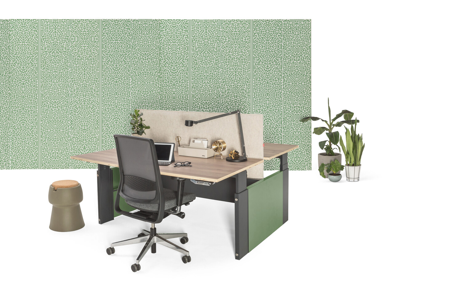 Gispen Cimo dual table with anthracite frame and green covers with walnut plywood tabletops and offwhite felt screen with black Zinn office chair and green patern backpanel front right view