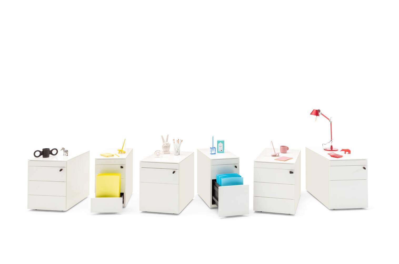 Royal Ahrend Pedestals in white with coloured office supplies front view