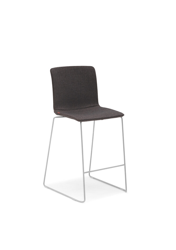 Gispen Nomi High 65 barstool with brown cover front left view