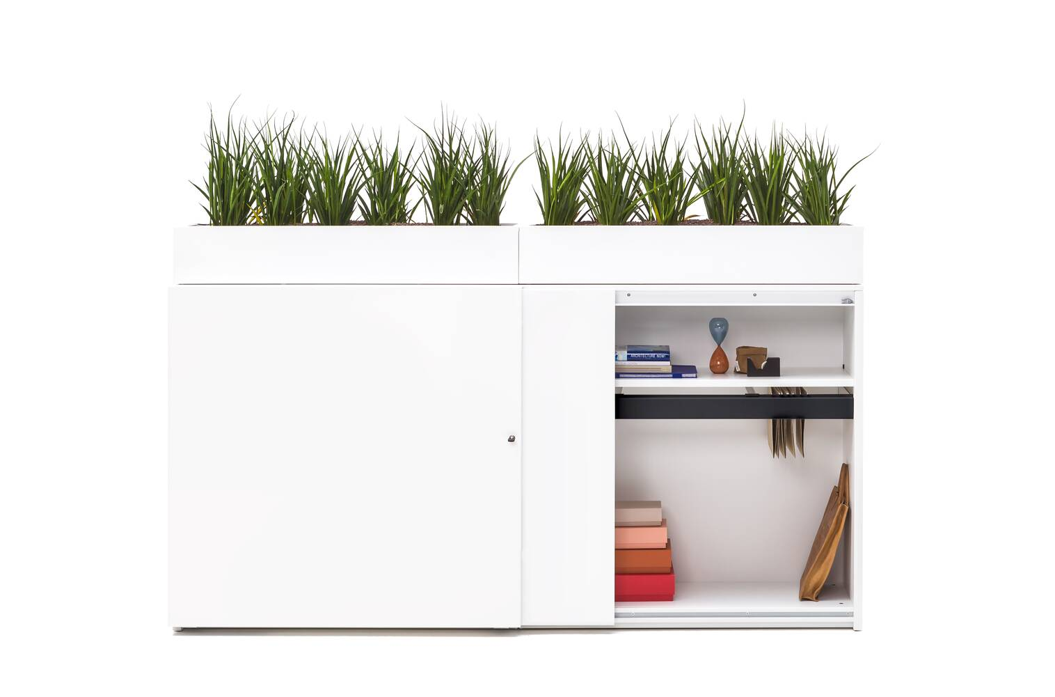 Gispen SDK sliding door cabinet in white with round perforated doors and right door opened with planters front view