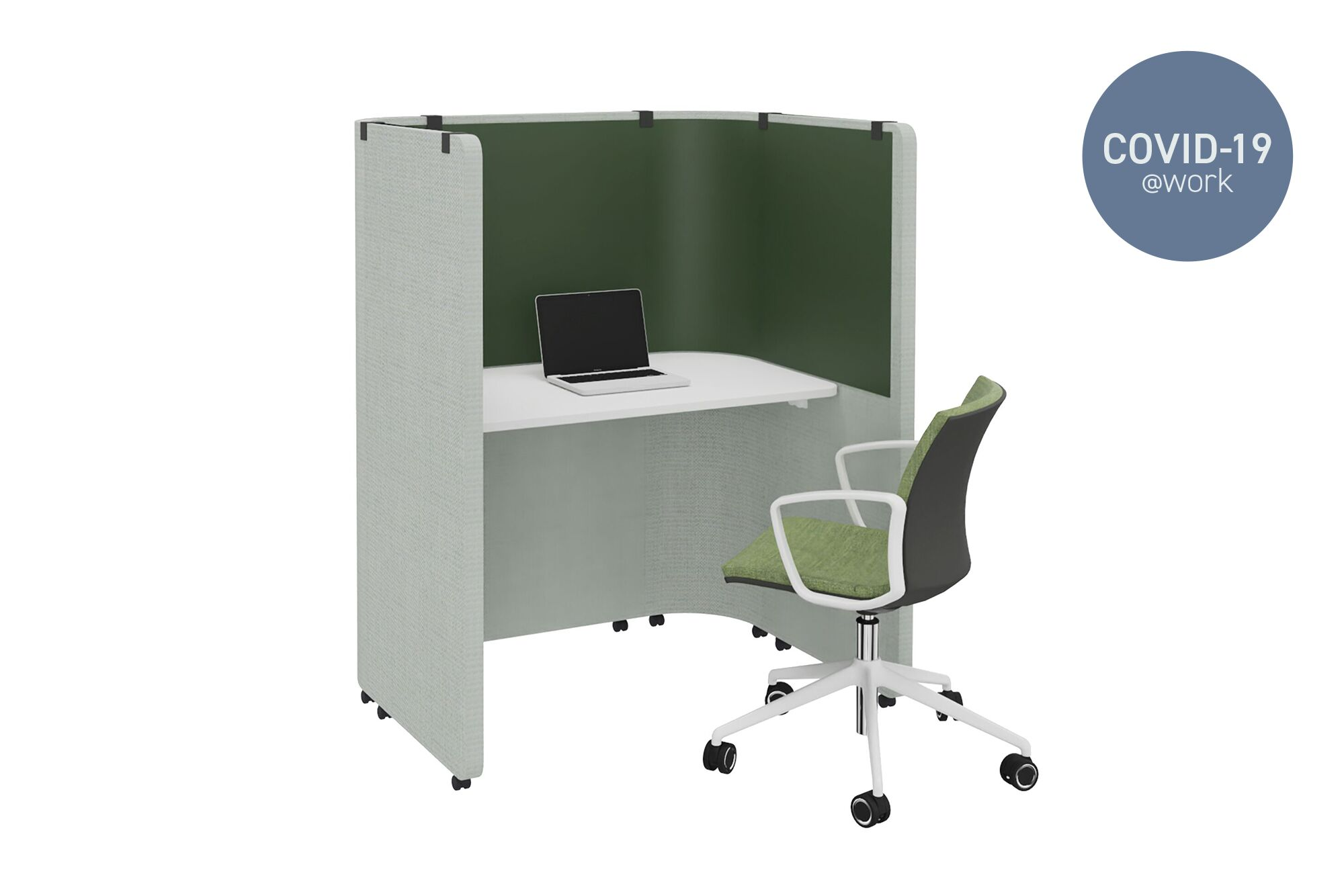 Large Royal Ahrend Concentration Corner solo desk in green on castors with hygenic panel and Well chair front left view with Covid 19 label