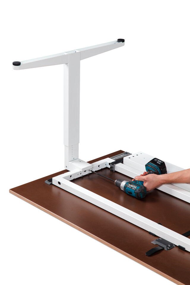 Royal Ahrend Balance workstation with white folding leg with assembly tool front left bottom detail view