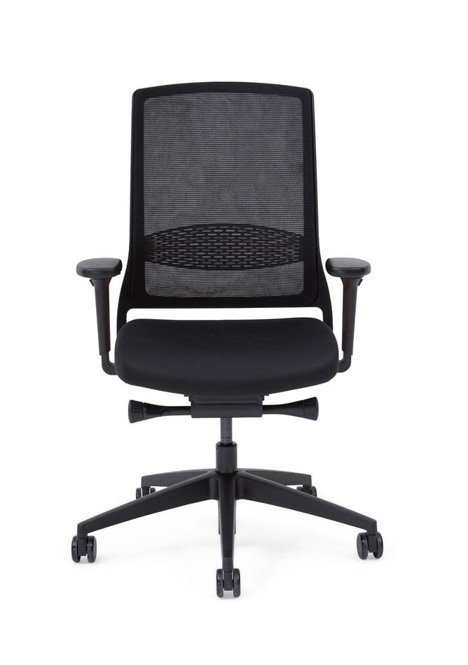 Gispen Zinn Smart 20 office chair upholstered in black with 4D armrests front view