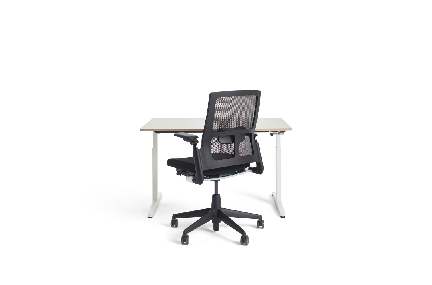 Gispen Home office HVM desk in white with oak tabletop and black A2020 Verta office chair front view