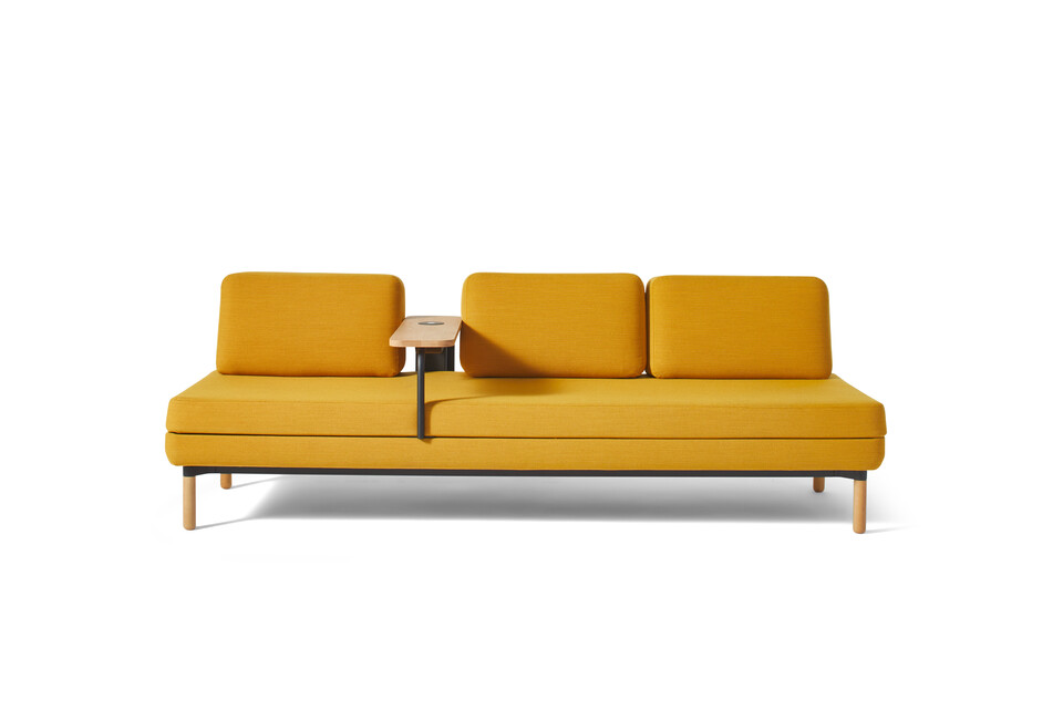 Gispen STEE sofa in black upholstered in yellow with oak table and PuK front view