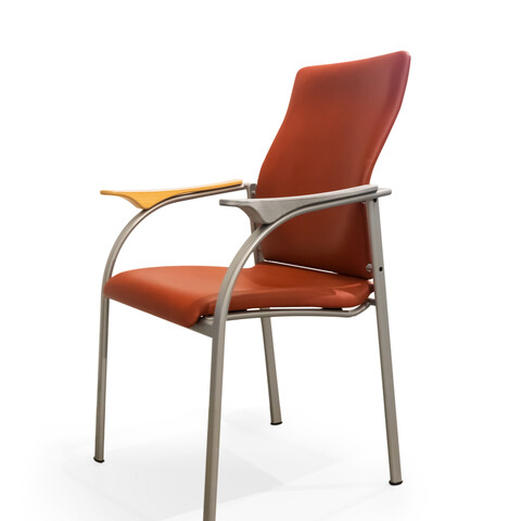 Kembo Kion chair upholstered in orange revitalised with 3D printed armrest front right view