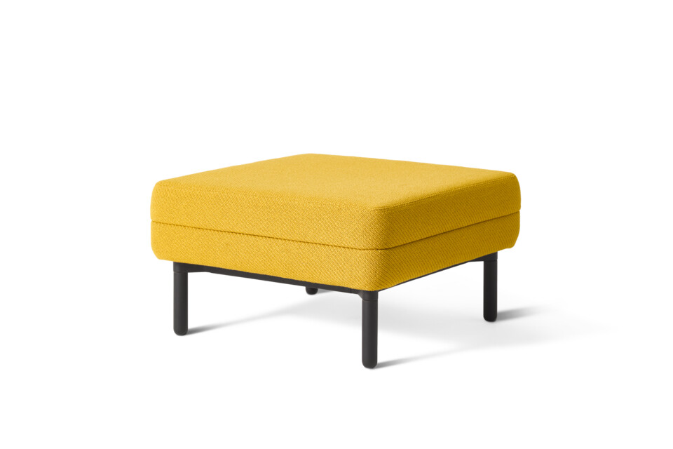 Gispen STEE pouf with black frame and upholstered in yellow front right view