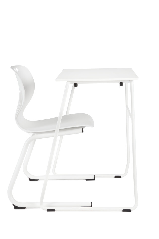 Royal Ahrend 456 seminar table in white with 450 educational chair right side view