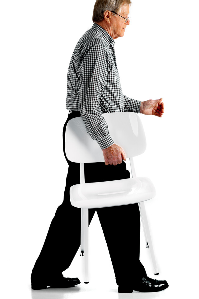 Royal Ahrend Revolt chair carried by Friso Kramer in white front view