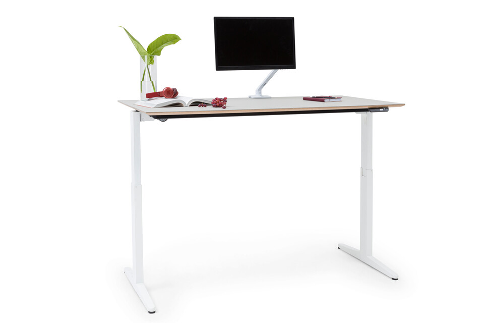 Royal Ahrend Balance workstation in white with pebble tabletop in standing position front left view