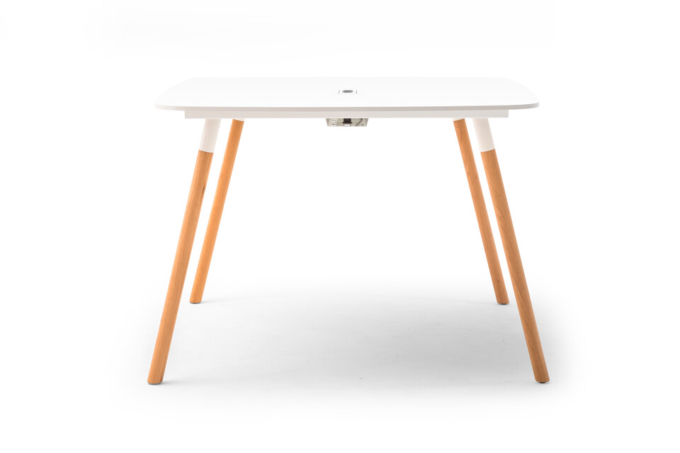Gispen TEAM Wood round high conference table with oak legs and white frame and tabletop with cabletray medium right side view