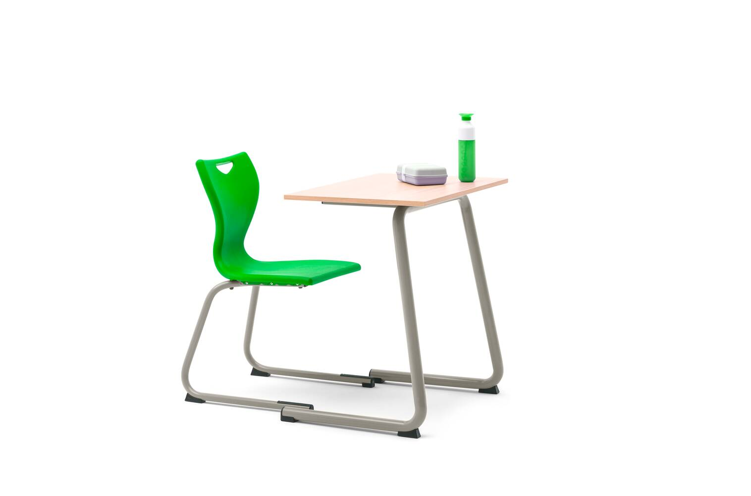 Gispen Eduu Comfort table and chair with green frame and beech grey tabletop with styling front left view