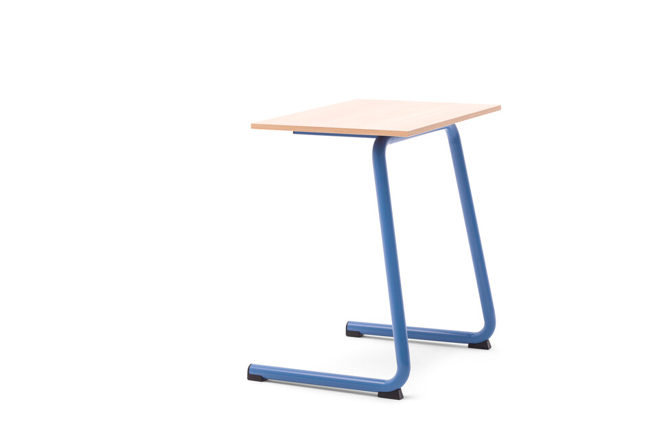 Gispen Eduu Comfort table with blue frame and beech grey tabletop front left view