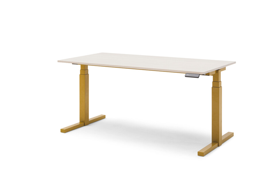 Gispen TMNL single workstation 3 stage sit stand in yellow with display on the right under beech top front right view