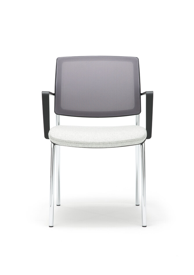 Gispen Zinn 48A 4 legged visitor chair with armrests with grey seat and Silver Grey 60011 back front view