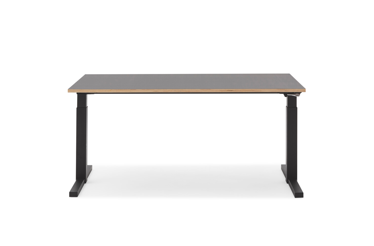 Gispen TMNL single workstation sit sit in black with crank on the right under black top front view