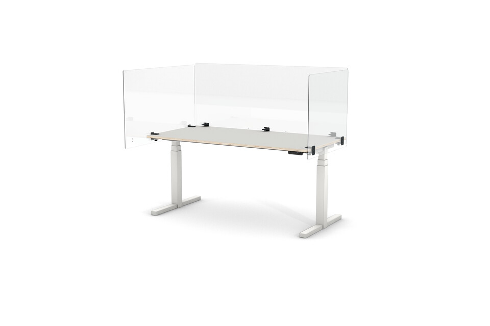 Gispen TMNL single workstation in white and transparent PEXX screens front right view