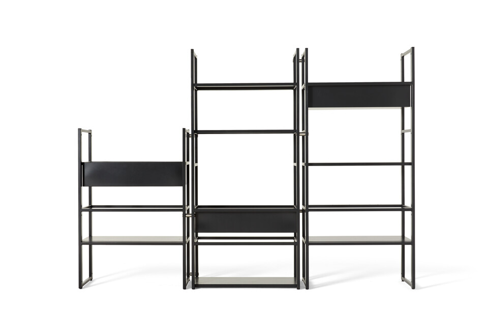 Gispen CIMO shelving unit in black with planters front view