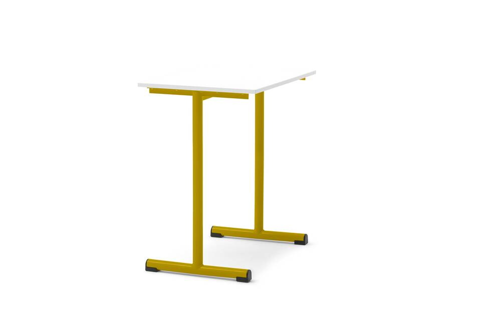Gispen Eduu Work table with yellow frame and white tabletop front left view