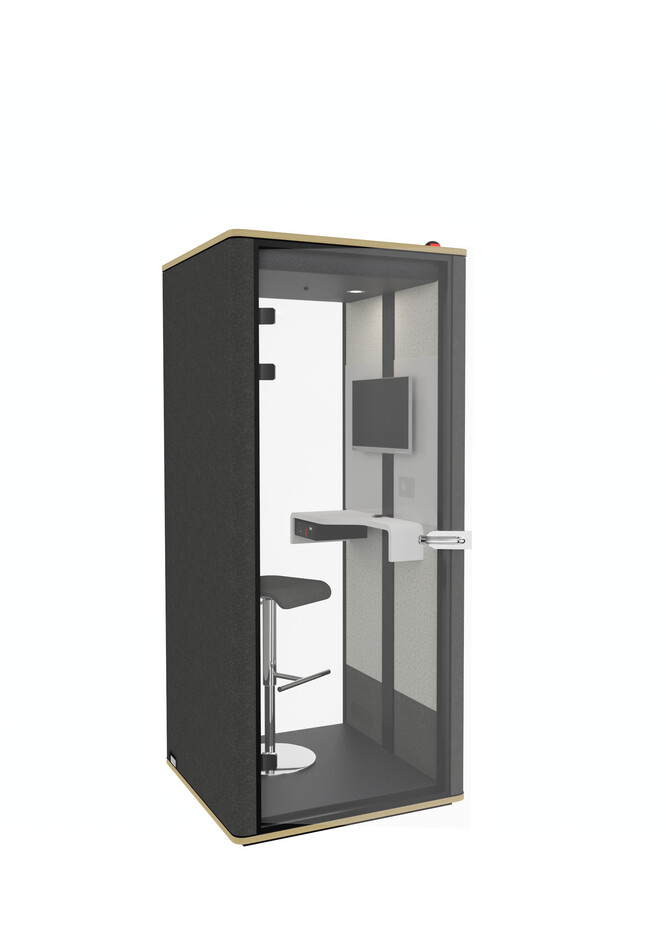 Royal Ahrend Silence Call cabine in black with hand free door opener front left view