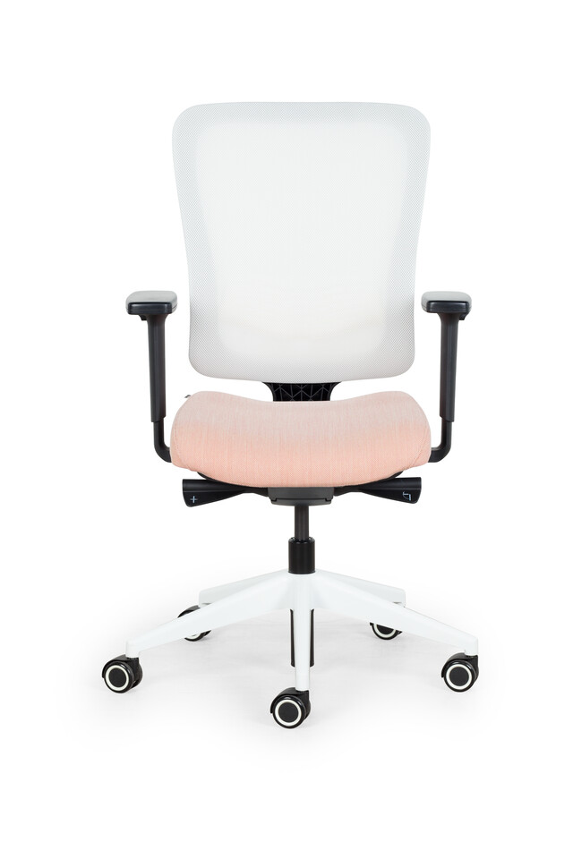 Royal Ahrend SQALA Style office chair with seat in pink and back in white front view