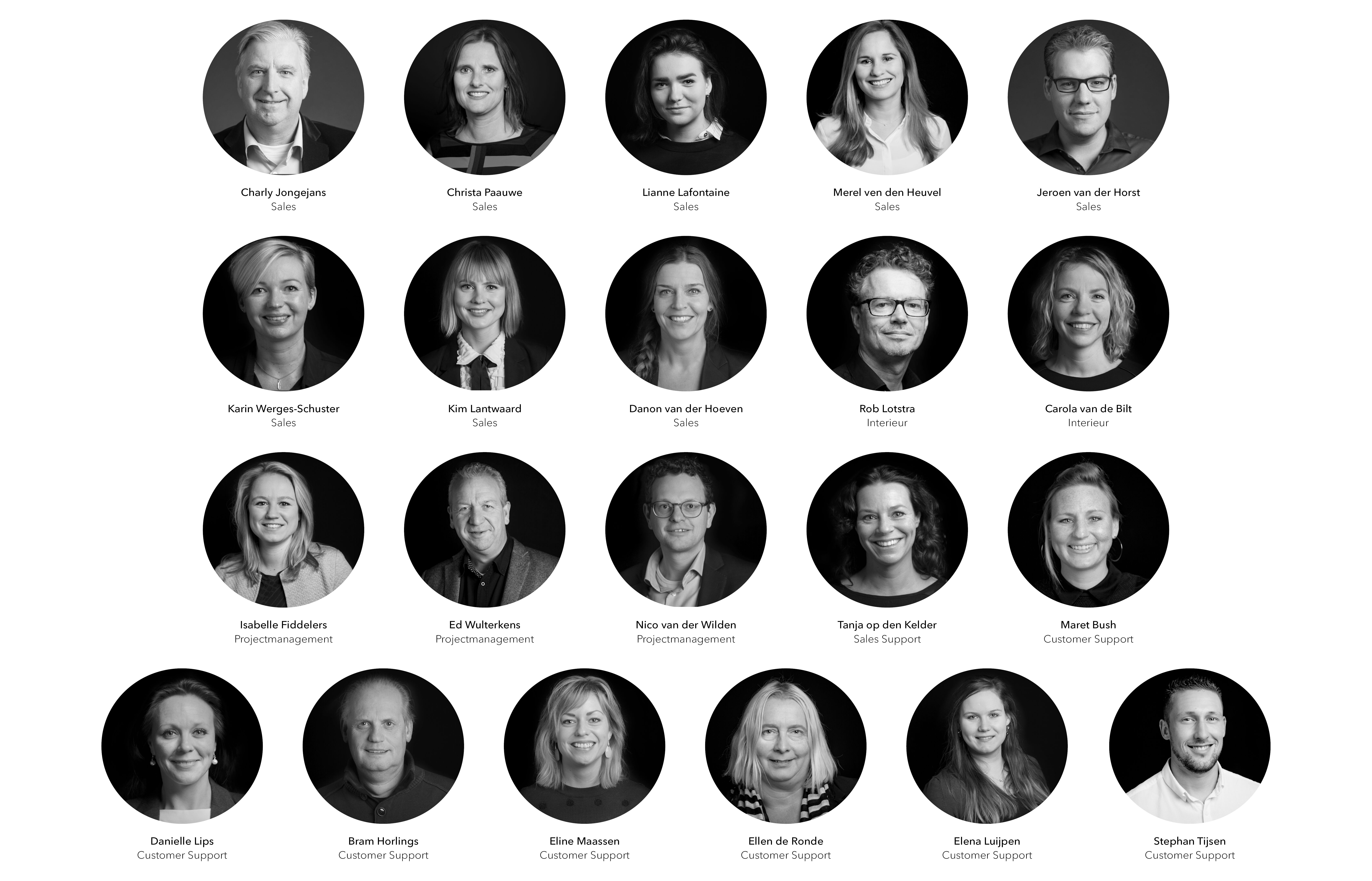 NL Gispen Kantoor thema zwart wit portretten van kantoorteam