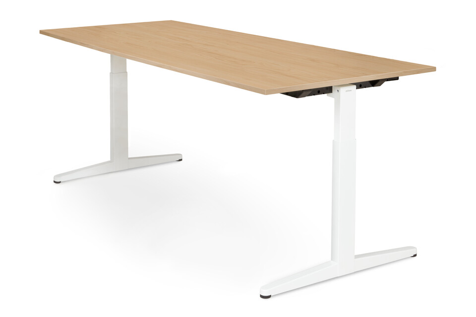 Royal Ahrend Balance workstation in white with birch worktop front right view