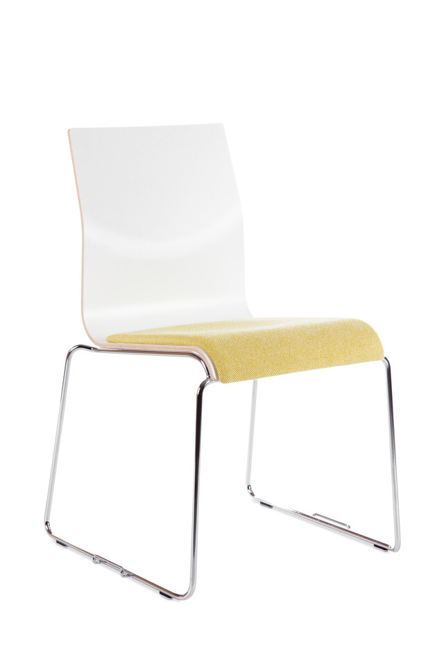 Royal Ahrend 370 wireframe chair with chrome legs and shell in white with seat upholstered in yellow front left view