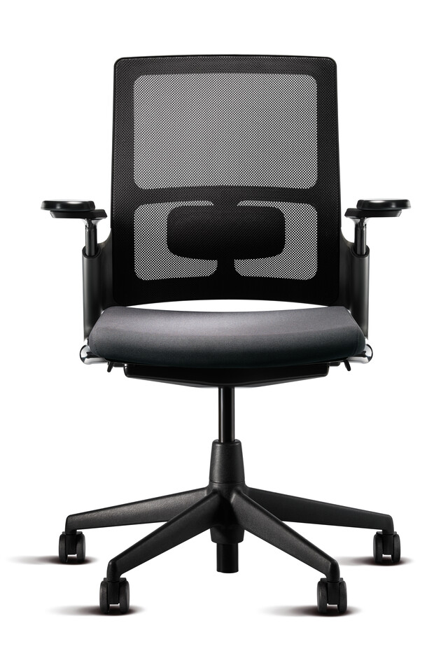Royal Ahrend 2020 Verta office chair upholstered in dark grey with and black base with armrests in widest position front view