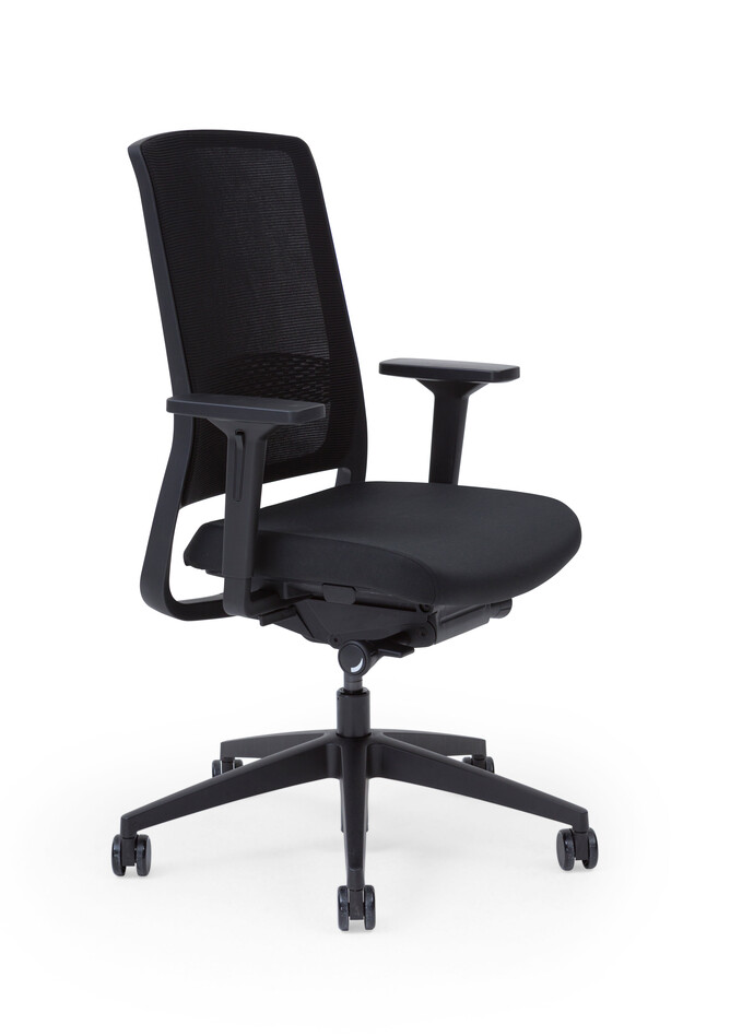 Gispen Zinn Smart 20 office chair upholstered in black front left view