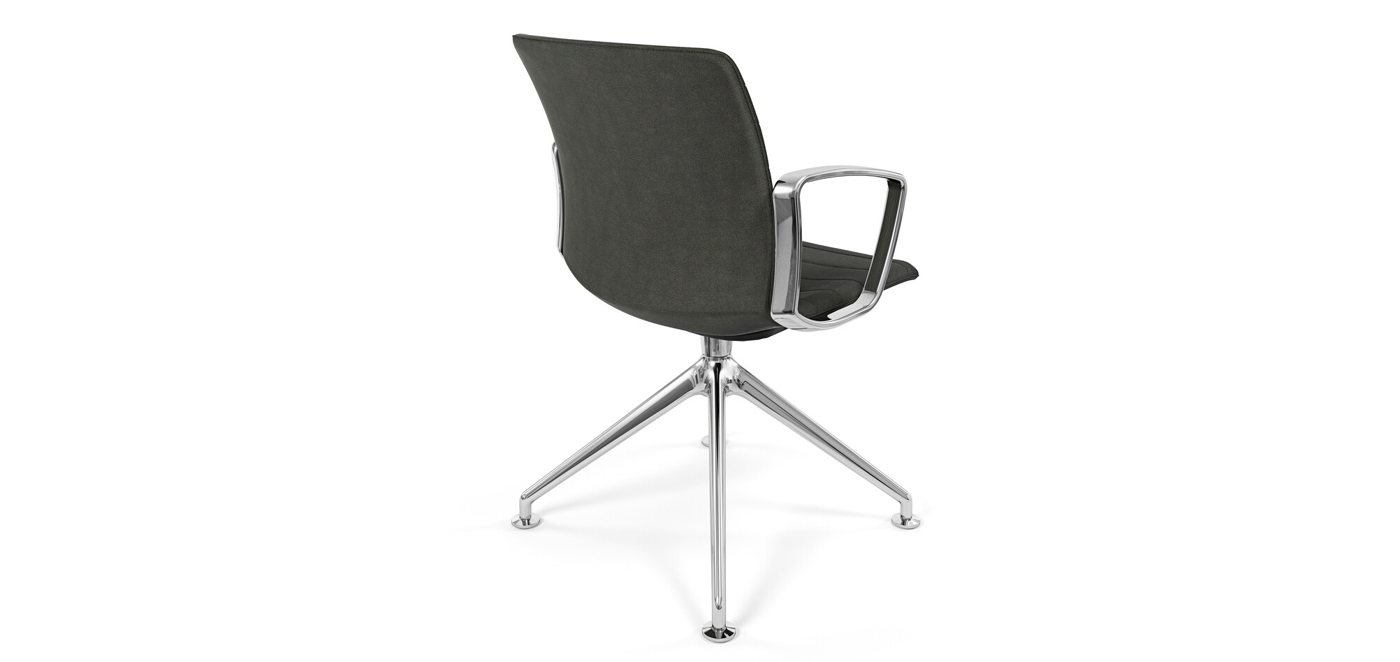 Royal Ahrend Well trestle base chair with polished chrome frame and armrests with fully grey upholstered shell left rear view