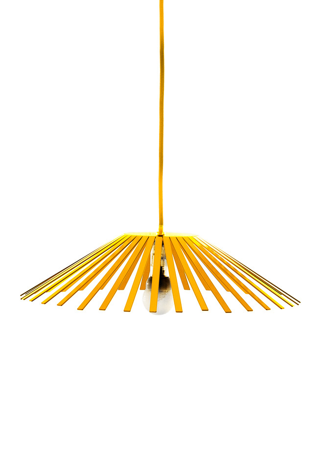 Gispen Ray large pendant lamp in yellow RAL 1023 front view