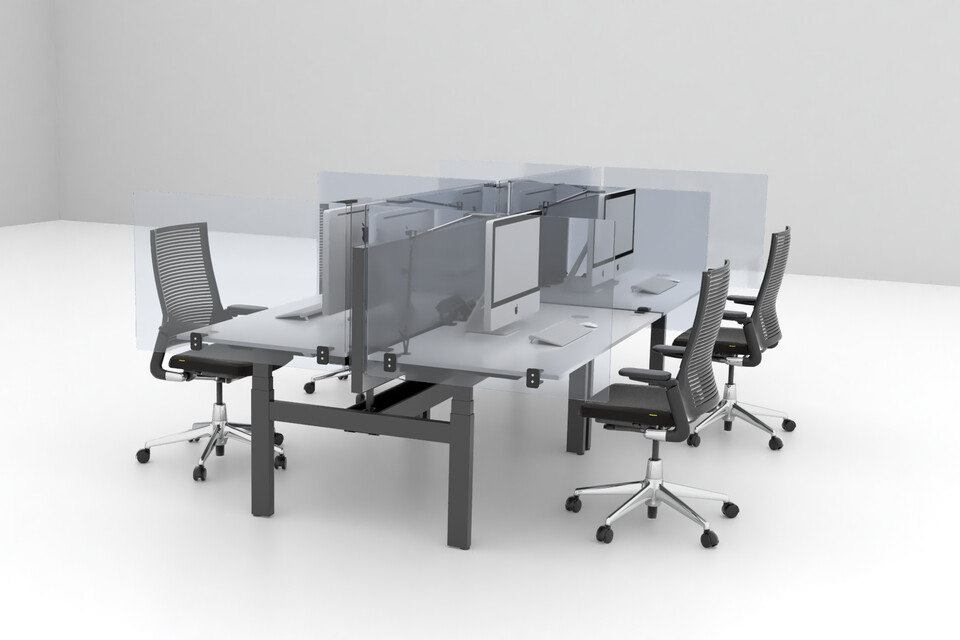 Royal Ahrend Balance quatro desks in black with transpartent screens and 2020 Extra Verta office chairs front left view